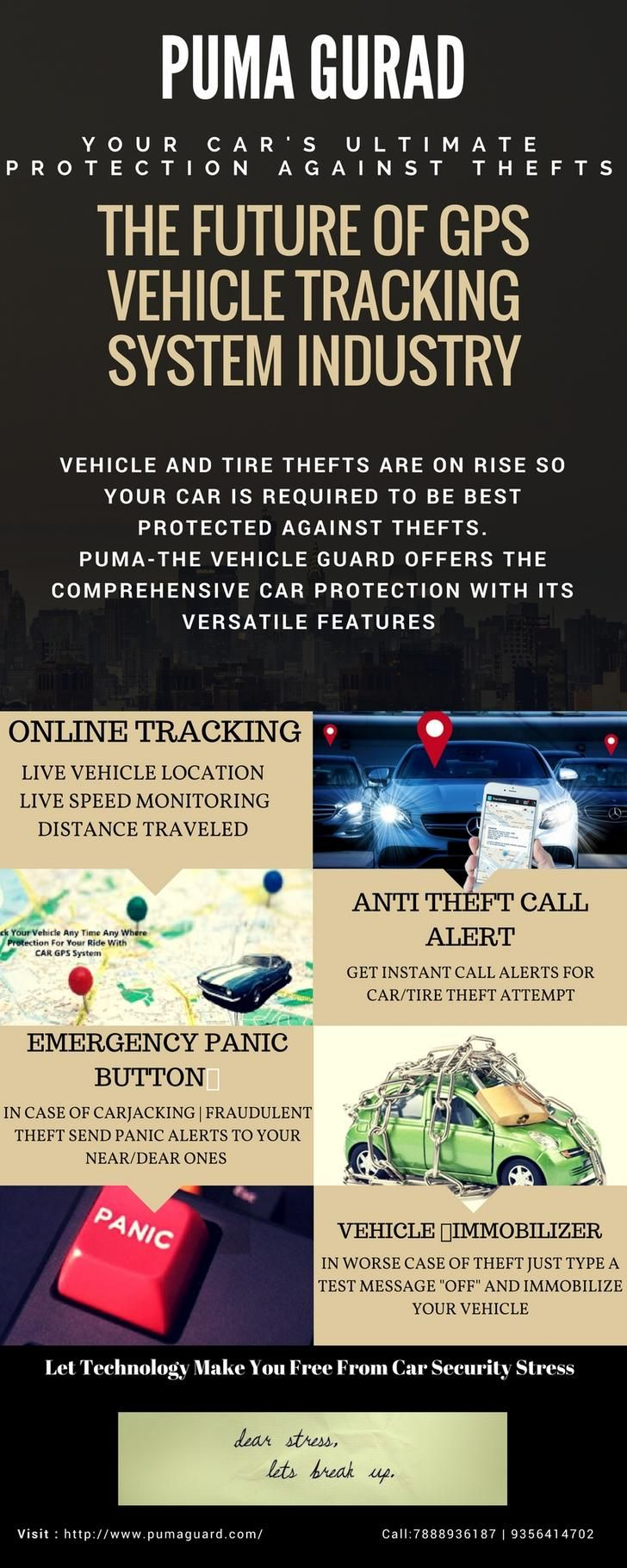 Puma Guard: Chandigarh India's best #GPS #Vehicle #Tracking system offer #Anti #car #Tyre #Theft #Call alert system to ensure complete security of your beloved vehicle against thefts. Visit : http://www.pumaguard.com/