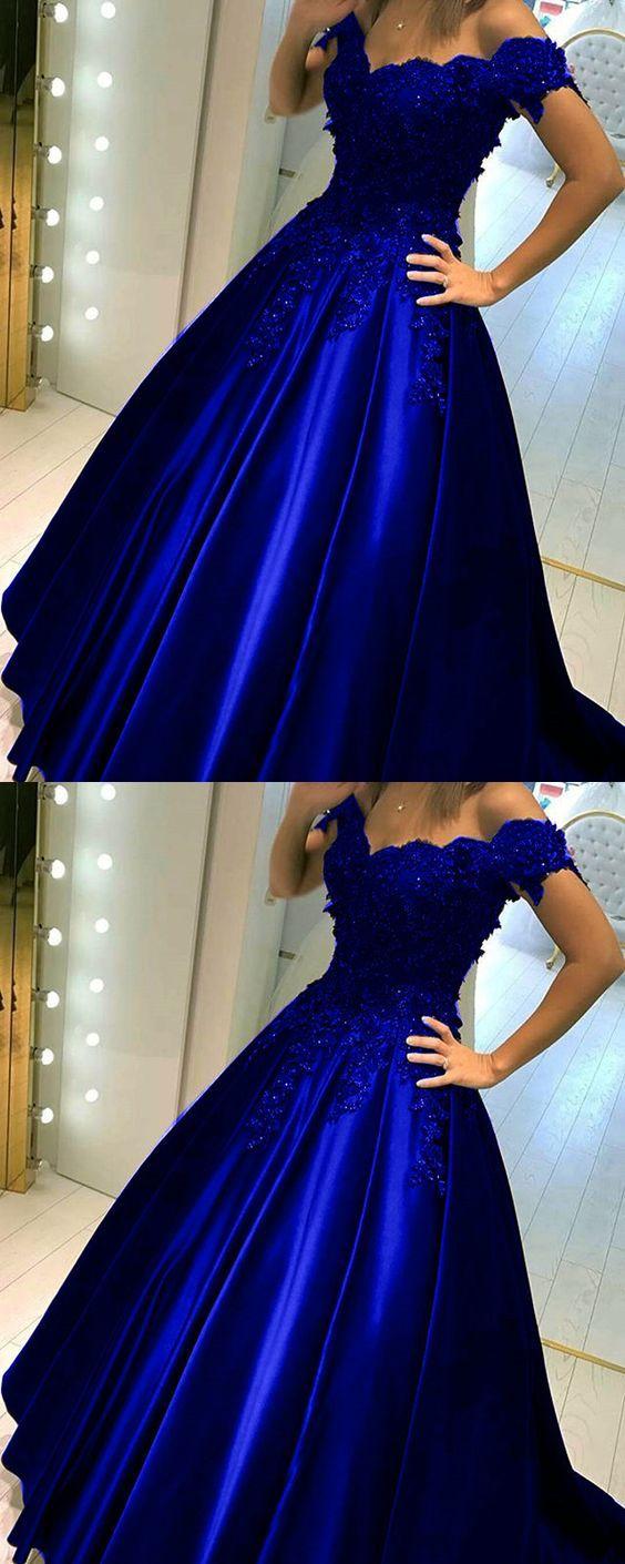 Royal Blue Satin Floor Length Off Shoulder Ball Gown, Charming Prom Dresses