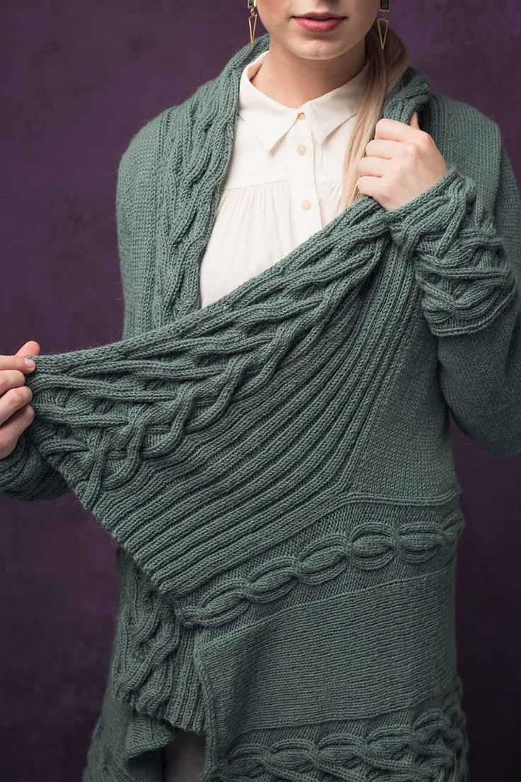 """Yes please"" to the Rorbye Cardigan from knit.wear Fall/Winter 2017 and all its rippling, cable-y goodness! Linda Marveng's generous design will wrap warmly around the body, enveloping you in Dale Garn Eco Wool yarn. Scrumptious!"