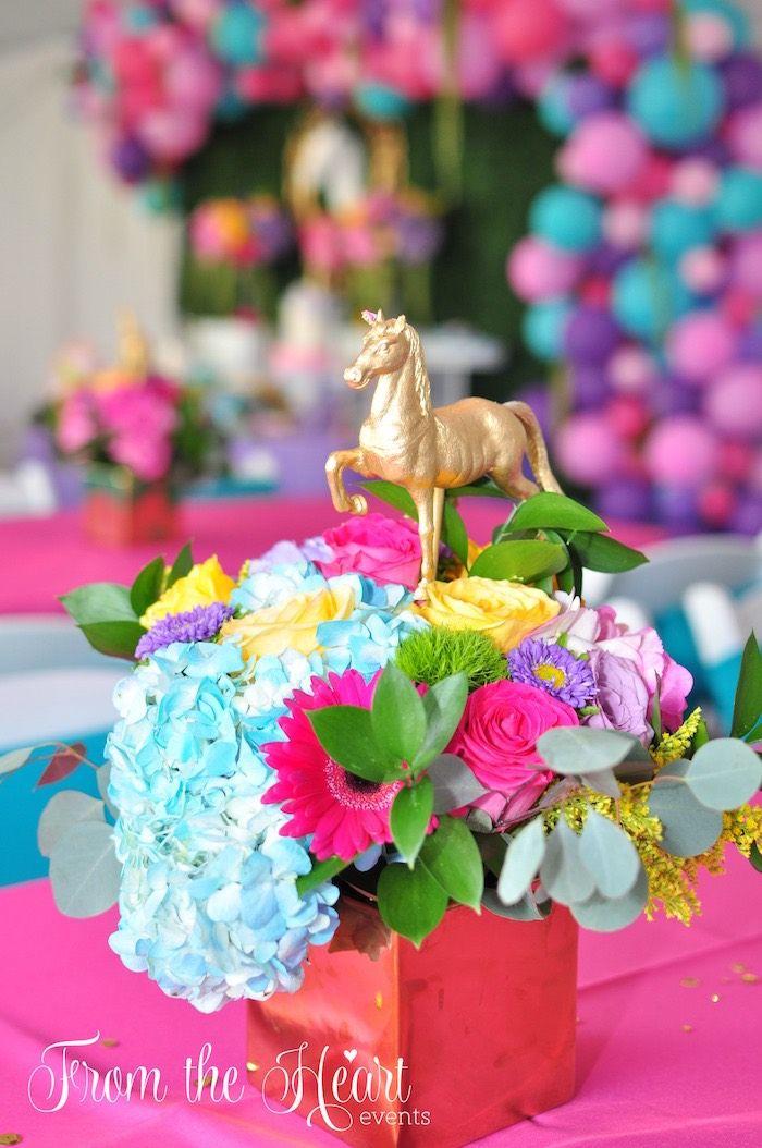 Floral unicorn centerpiece from a Vibrant Unicorn Birthday Party on Kara's Party Ideas | KarasPartyIdeas.com (17)