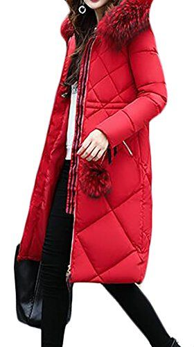 Papijam Womens Metropolis Faux Fur Hooded Winter Outdoor Coat Parkas Red X-Large