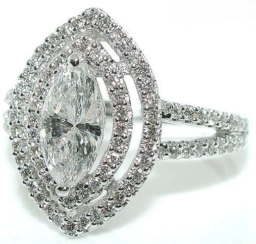3 carat marquise engagement rings | Center stone is 1.2 carat MARQUISE but looks much bigger because it is ...