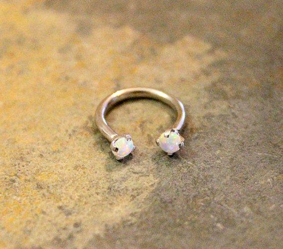 White Opal Fire Hoop 16G Lip Ring Cartilage Septum by Purityjewel