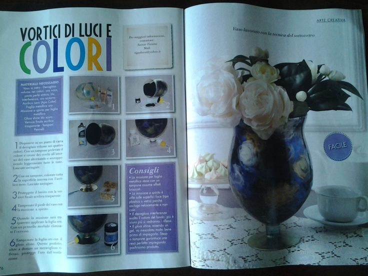 Vaso vortici di luci e colori pubblicato su una rivista del settore
