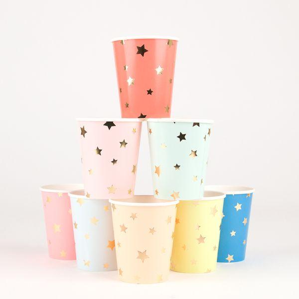 5,80€/8 gobelets multicolores - étoiles dorées