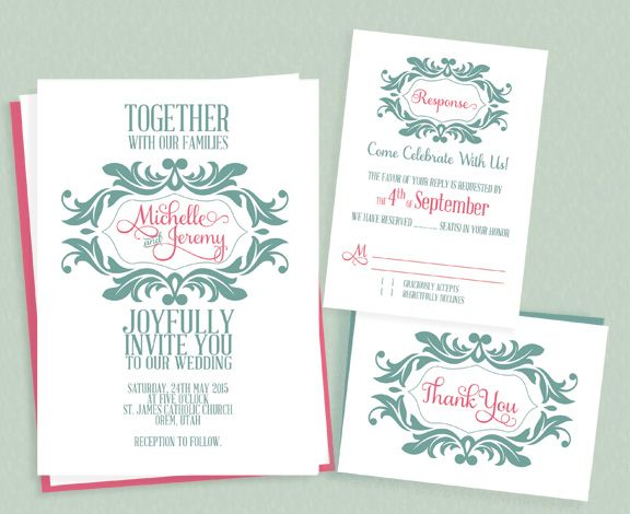Stylized Monogram Invitation For Mint And Pink Wedding ← Printable  Invitation Kits