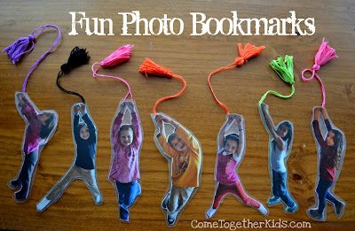 These cute photo bookmarks make it look like your kid is hanging on to mark their place.