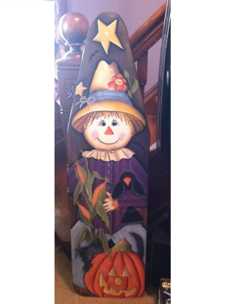Very old ironing board I painted..... Scarecrow, Cat and Crow