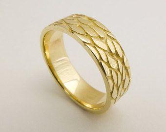 Gold snake wedding band, Wide wedding band 14k gold ring, Solid gold ring, Handmade wedding ring, Women's wedding band, Snake jewelry