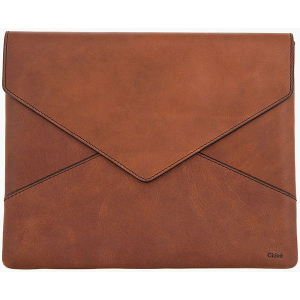 CHLOE Brown Leather Envelope Ipad Case (15.570 RUB) ❤ liked on Polyvore featuring accessories, tech accessories, bags, clutches, fillers, brown, genuine leather ipad case, ipad sleeve case, leather ipad case and ipad cover case