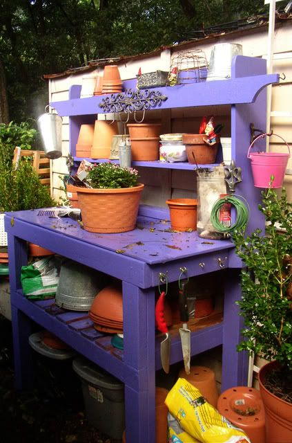 Love the color. I need and want a potting bench :)