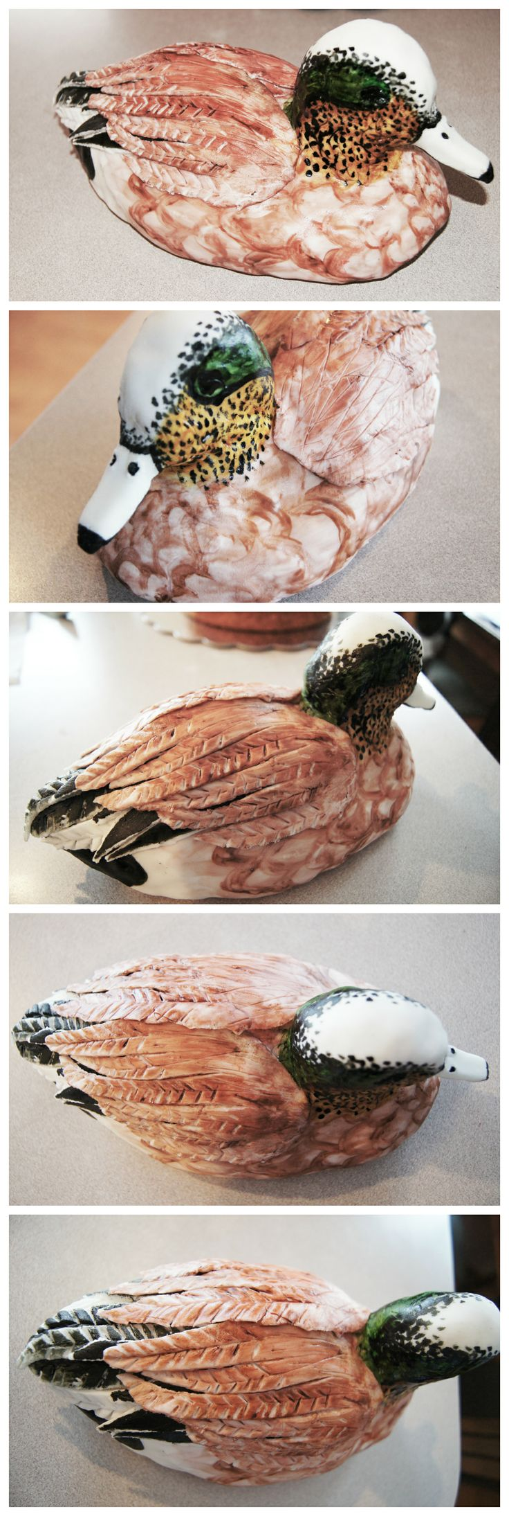 Widgeon made of rice krispie treats and fondant. Hand painted with food coloring. #Duck #Cake #Hunting