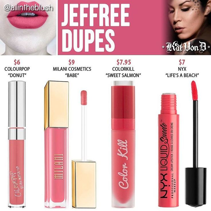 """(@allintheblush) on Instagram: """"#JEFFREE DUPES  What Kat Von D shades do you want to see duped next? Let me know in the comments!…"""""""