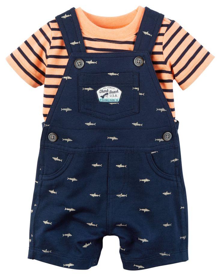 Baby Boy 2-Piece Neon Top & Shortalls Set | Carters.com