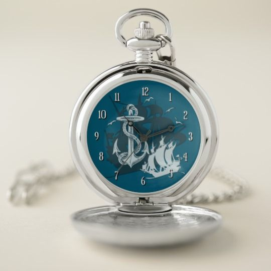 Pirate Ship & Anchor White Silhouette Pocket Watch