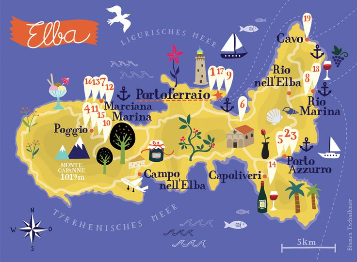 Illustrated map of Elba for Fiat Austria's Emozioni Magazine. By Bianca Tschaikner