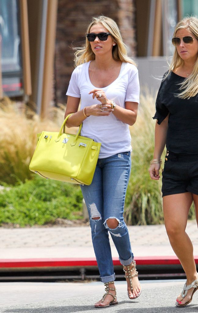 Petra Ecclestone...white T, jeans and sandals