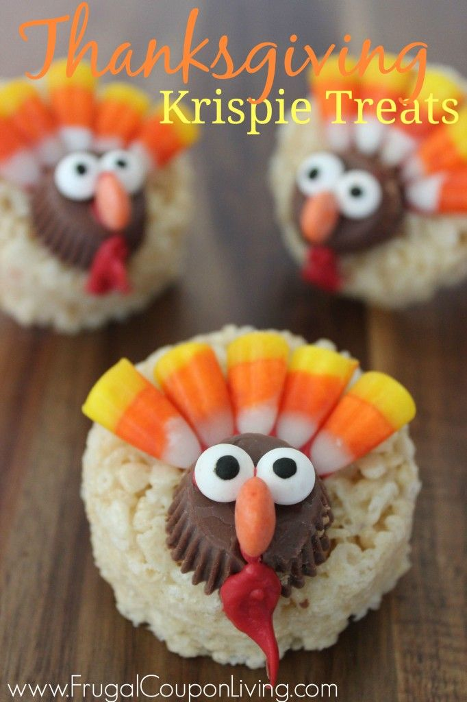 Thanksgiving Turkey Rice Krispie Treats using Reeses, Candy Corn, and Rice Krispies on Frugal Coupon Living. Great Kid's Food Craft for November and Parties