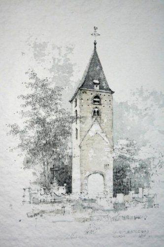 Toren van Oud-Leusden. Aquarel. Cor van den Braber 2004.