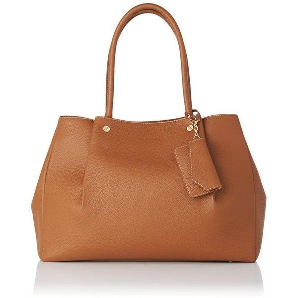 Regan Tan Grained Leather Tote ($330) ❤ liked on Polyvore featuring bags, handbags, tote bags, tan tote, brown tote, full grain leather tote, tan purse and tote bag purse