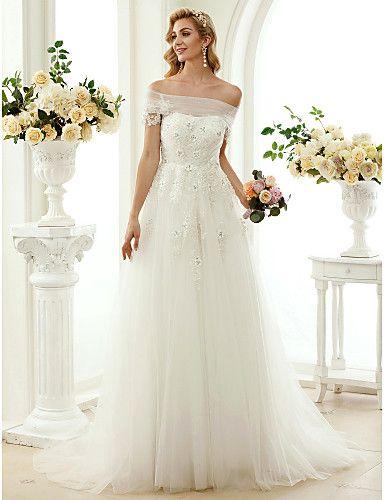 Linha A Princesa Cauda Escova Renda Tule Vestido de casamento com Miçangas Apliques de LAN TING BRIDE®