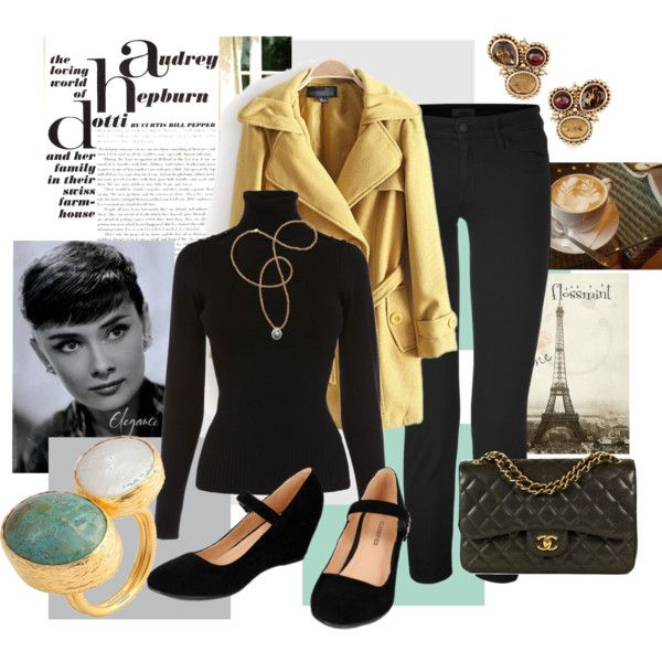 """At the Cafe in Paris Audrey Hepburn Style"" by flossmint on Polyvore"