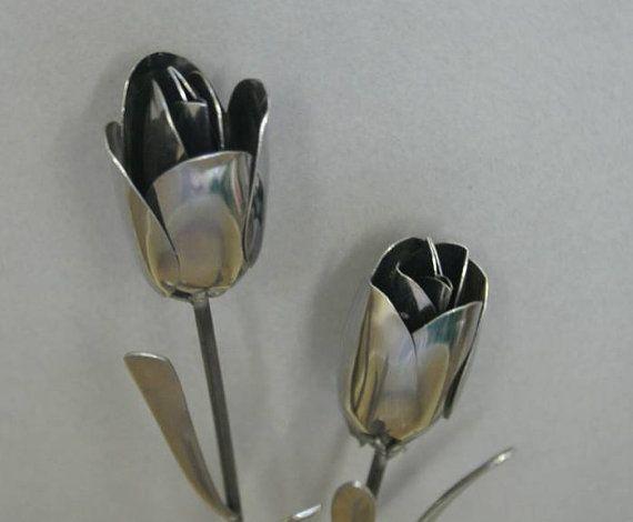 Tulip Silverware Garden Flower Art from Stainless Flatware Spoons via Etsy