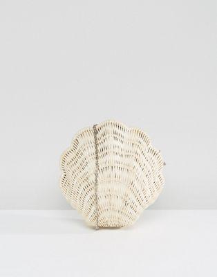 ASOS BEACH - Pochette coquillage en paille avec bandoulière amovible