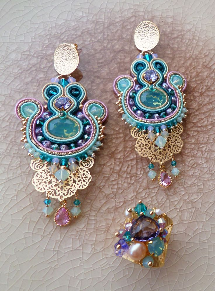 Soutache earrings and ring Serena Di Mercione Creations