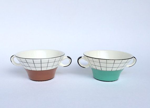 vintage fifties kitchenware: soup bowls Granit made in Hungary geometrical figures 50's brown green