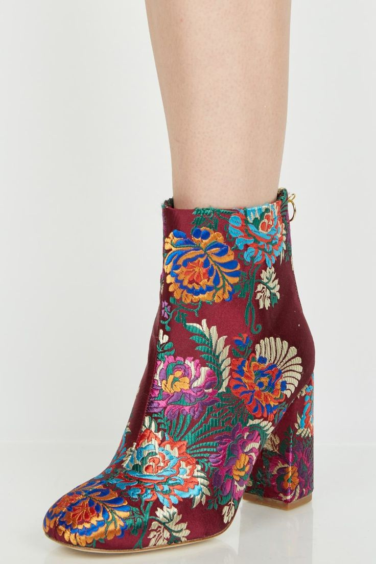 "Vibrant floral embroidery enhances these stand-out ankle boots. Self-covered heel, 3.5"" (90mm). Satin over leather. Back zip closure, leather lining, and sole padded insole.    Saleema Brocade Boot by Joie. Shoes - Boots - Heeled New Hampshire"