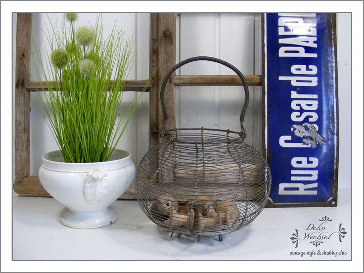 Vintage Körbe - *French* Uralter Eierkorb - Fil de Fer - ein Designerstück von dekowechsel bei DaWanda