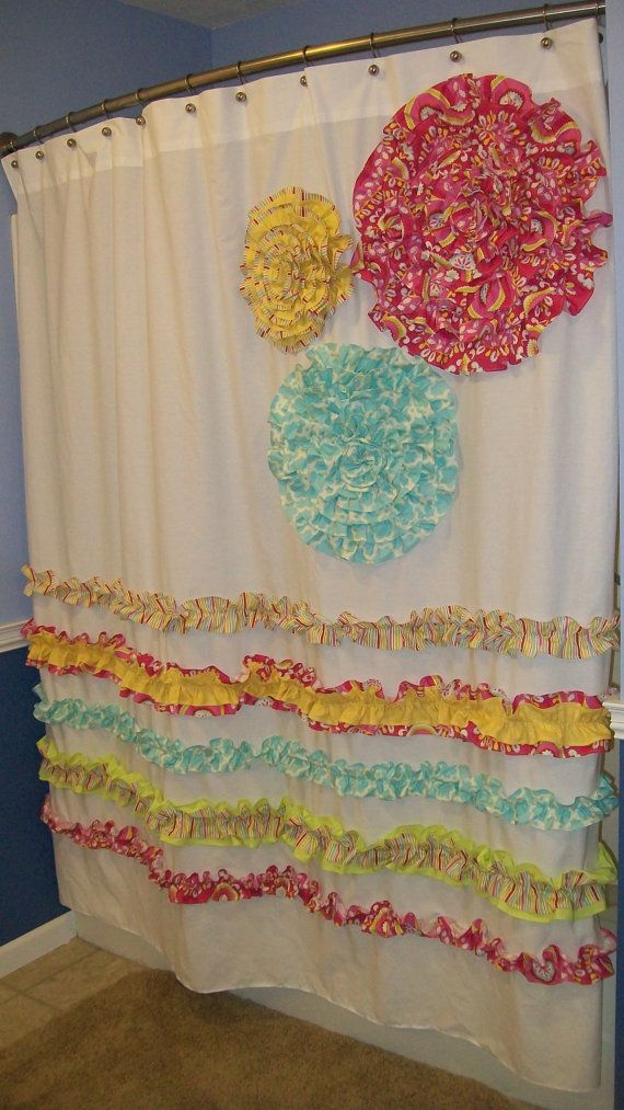 diy fabric fower on shower curtain ideas | Shower Curtain Custom Made Dena Designs Free Spirit Kumari Garden ...