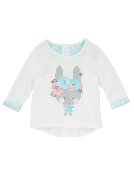This long-sleeved top features a cute bunny print with glitter detailing, and a scooped hemline. #newandnow