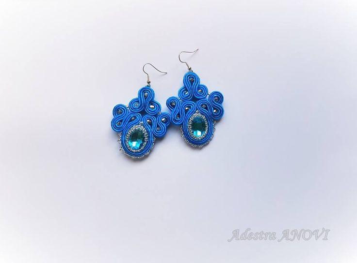 Soutache Earrings, Dangle Soutache Earrings, Blue Soutache Jewelry by AdestraANOVIDesign on Etsy