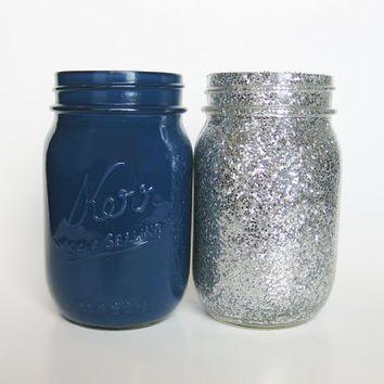 silver mason jars | Navy Blue and Silver Glitter Mason Jar Set