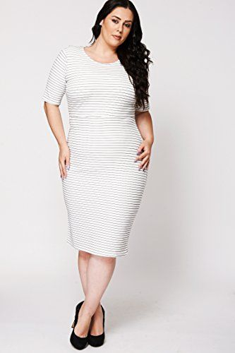 Womens Ladies Plus Size White Striped Short Sleeve Scuba Shift Dress Party, Evening, Casual Outing Plus Size Dress. Sizes: 16-26 (16) Klassywear http://www.amazon.co.uk/dp/B01266OJUC/ref=cm_sw_r_pi_dp_kP0Rvb0V2SSNG