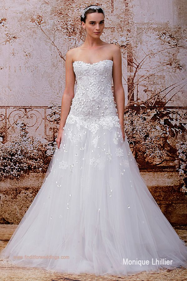 This is style Antoinette from wedding dress designer Monique Lhillier www.finditforweddings.com bridal collection