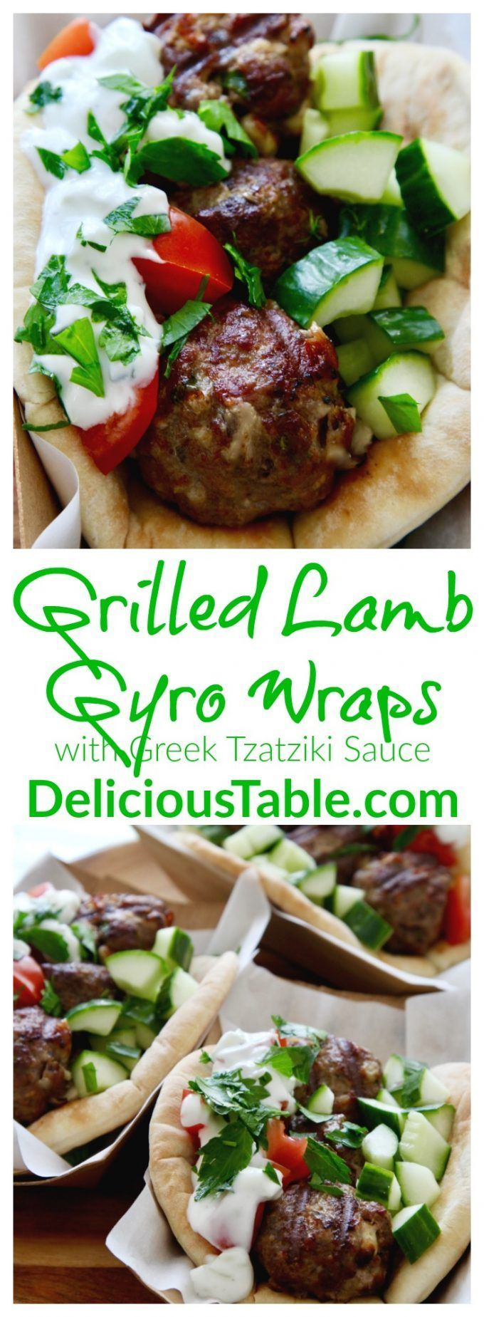 Grilled Lamb Gyro Wraps with Greek Tzatziki Sauce are made in minutes on the grill, place on a pita wrap with cool veggies and tzatziki sauce! {sponsored}