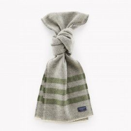 Trapper Wool Scarf / Gray & Olive | Red Rolling Pin