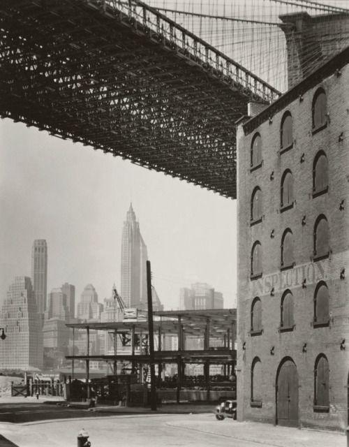 Berenice AbbottBrooklyn Bridge, Water and Dock Streets, Brooklyn1936