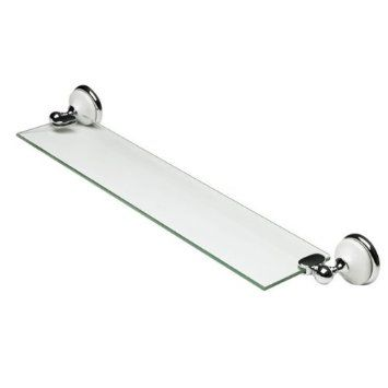 home treats bathroom cloakroom chrome wall accessories white and silver look glass shelf