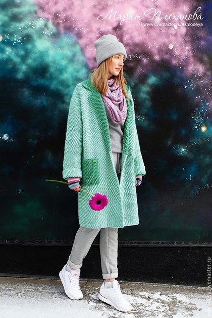 Верхняя одежда ручной работы. Ярмарка Мастеров - ручная работа. Купить Пальто вязаное двухцветное bicolor. Handmade. Мятный