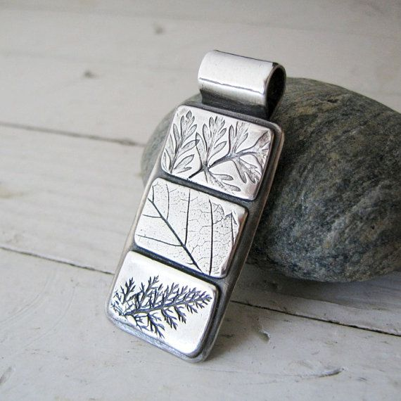 PMC Artisan Pendant, Leaf Quilt Study 2, Handmade Fine Silver, Earth Friendly