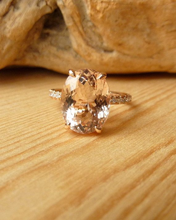 Wow that''s gorgeous. Oval Morganite and Diamond Ring by kateszabone on Etsy, $2195.00