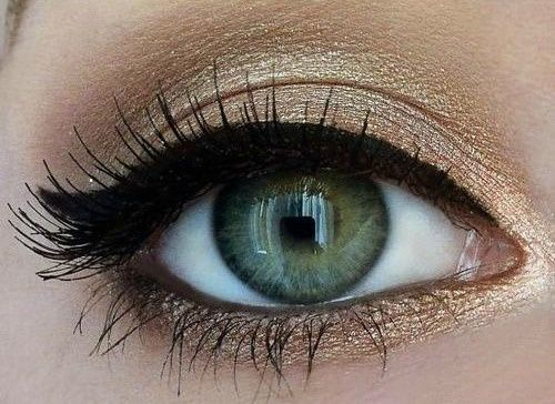 Gold shimmer & black liner. Perfect with a bright lip for the holidays