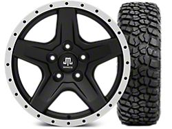Mammoth Boulder Beadlock Style Black Wheel - 17x9 and BFG KM2 Tire 305/70- 17 (07-17 Wrangler JK)