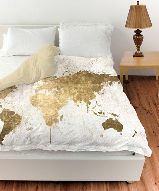 Oliver Gal White Gold Mapamundi Duvet Cover | zulily