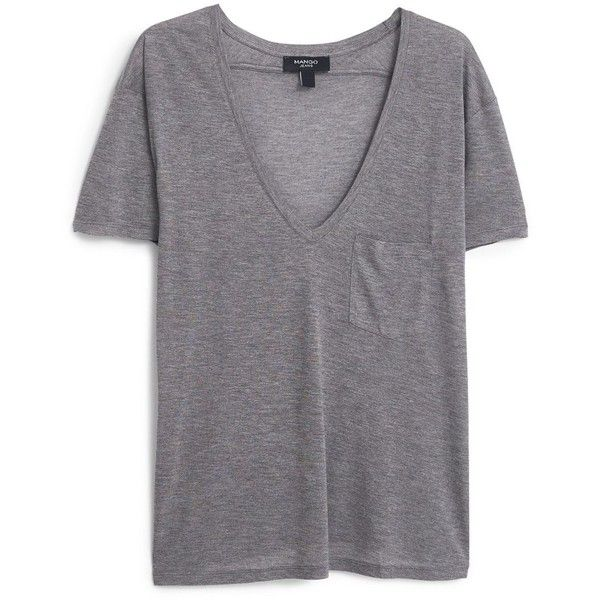 Mango Patch pocket t-shirt ($28) ❤ liked on Polyvore featuring tops, t-shirts, shirts, tees, grey, women, grey top, short sleeve v neck t shirt, gray top and mango tee