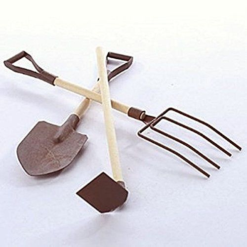 RUSTIC MINIATURE TOOL SET OF 3 HOESHOVEL PITCH FORK 4 FAIRY GARDEN  DOLLHOUSE ** Want to know more, click on the image.